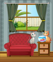 Deurstickers Katten The two cats watching the aquarium