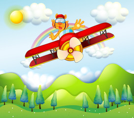 A red airplane driven by a tiger