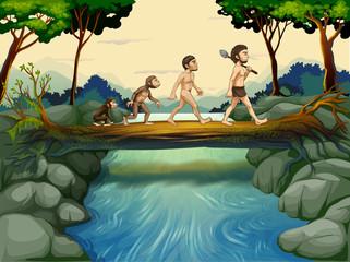 Foto op Plexiglas Rivier, meer The evolution of man at the river