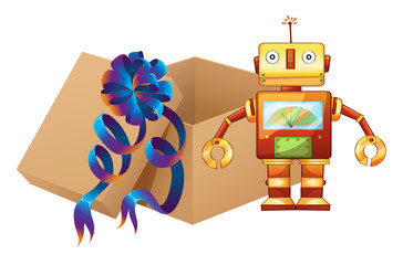 A robot and a box