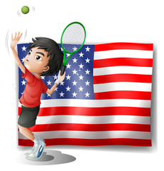 A tennis athlete and the USA flag