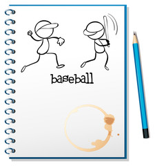 A notebook with a sketch of the baseball players