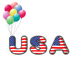 The USA letters with colorful balloons