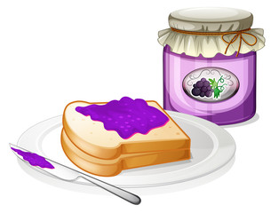 A grape jam with a sandwich at the plate
