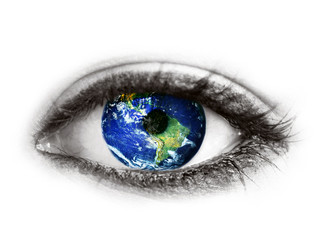 """Planet earth in eye isolated on white - """"Elements of this image"""