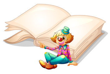 A clown with a book at the back