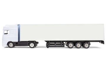 White blank toy cargo truck isolated on white
