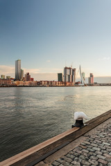 River skyline of the Dutch harbor city Rotterdam