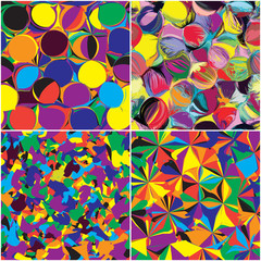 Set of seamless grunge circled and stained  rainbow patterns