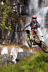 Wall Mural - motocross with waterfall