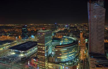 Warsaw, the Polish capital at night