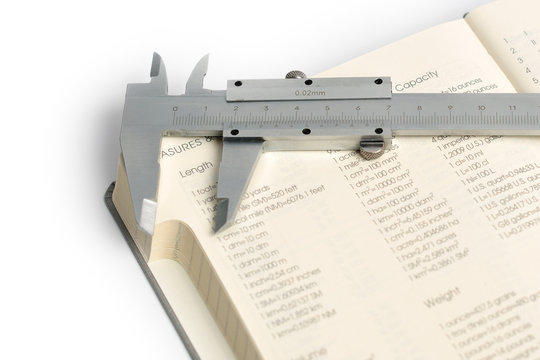 A caliper lying on tables of measures and conversions