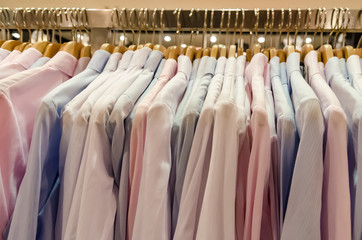 Man Shirts On Hanger In Dressing Room
