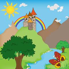 Door stickers Castle FairyTale castle illustration