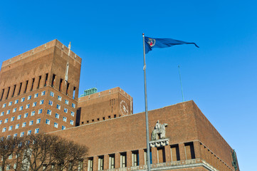 Oslo City Hall and City Banner