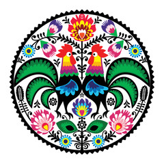 Polish floral embroidery with roosters folk pattern - fototapety na wymiar