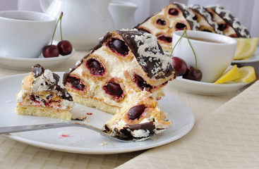 Cake with cherry chocolate with coconut