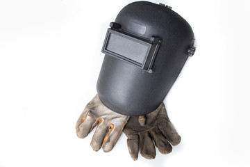 welding helmet and gloves