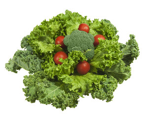 fresh kale, broccoli and tomatoes, isolated