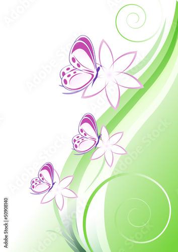 Sfondo verde fiori e farfalline immagini e vettoriali for Sfondi farfalle gratis
