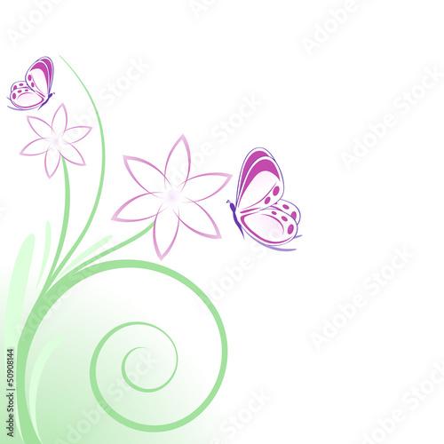 Sfondo fiori rosa e farfalline immagini e vettoriali for Fiori stilizzati immagini