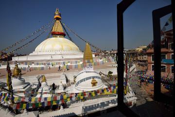 Boudhanath Stupa through the windows, Kathmandu valley, Nepal