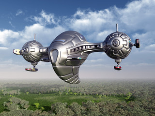 Raumschiff in der Erdatmosphäre