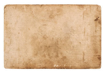 old blank photo card isolated on white