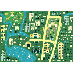 Acrylic Prints On the street seamless cartoon map of australia