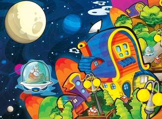 Poster Cosmos The aliens theme - ufo - for kids