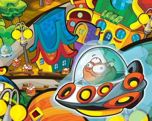 Poster de jardin Cosmos The aliens theme - ufo - for kids