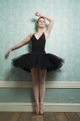 Portrait of a Beautiful Ballerina Standing on Toes