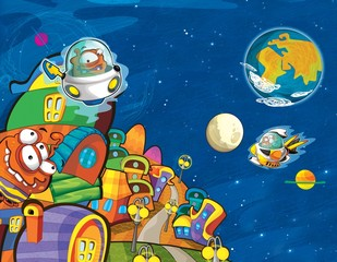 Fotorolgordijn Kosmos The aliens - ufo - for kids