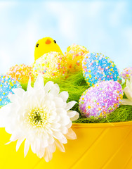 Colorful Easter eggs with chick