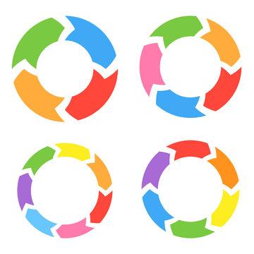 Color Circle Arrows Set. Vector