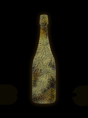champagne bottle with firework inside