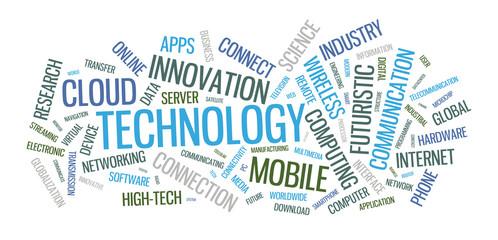 Technology word cloud illustration