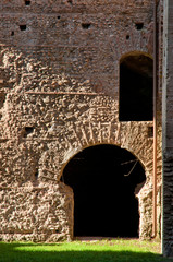 Fototapete - Ruins from old Roman wall and door at caracalla springs in Rome