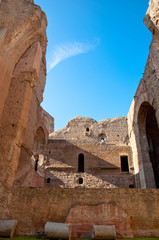Fototapete - Ruins from interior brick walls and columns at Caracalla springs