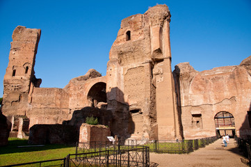 Fototapete - Ruins from Frigidarium and path on Caracalla springs at Rome
