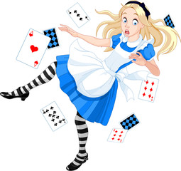 Aluminium Prints Magic world Falling Alice