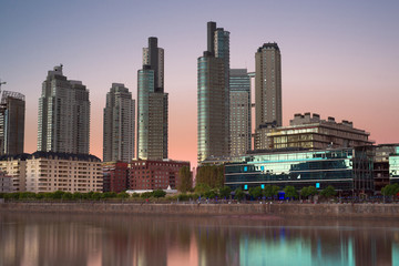 Fototapete - Buenos Aires, Puerto Madero at dusk