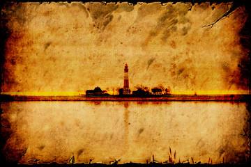 Fond de hotte en verre imprimé Affiche vintage Retroplakat - Leuchtturminsel