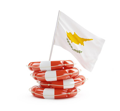 Cyprus flag in rescue circle, lifebuoy, life buoy