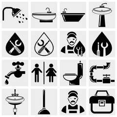 Plumbing and bathroom vector icons set