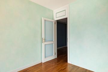 Interior, empty apartment in style classic, room with door open