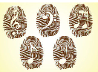 A Thumbprint showing Musicale notes and symbols-musical lover