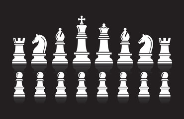 Chess icons. Vector Illustration.