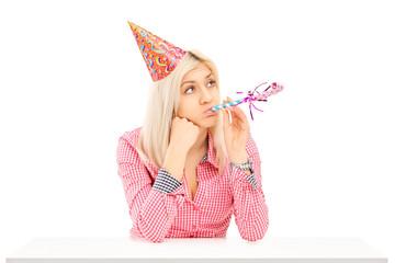 Bored birthday female posing