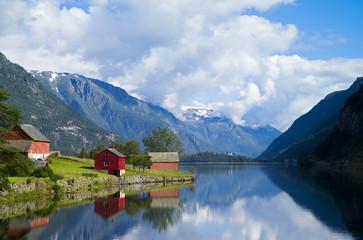 Folgefonn from Sandvevatnet, Odda, Hardanger, Norway